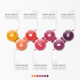 Mall för alternativ för vektor 7 infographic med cirklar Royaltyfri Fotografi