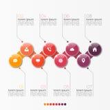 Mall för alternativ för vektor 8 infographic med cirklar Arkivbilder