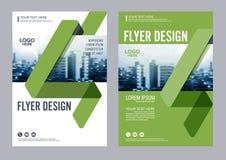 Mall för design för grönskabroschyrorientering Presentation för räkning för årsrapportreklambladbroschyr Arkivfoton