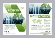 Mall för design för grönskabroschyrorientering Presentation för räkning för årsrapportreklambladbroschyr Arkivbild