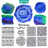 Mall för design för logo för Hello sommarvattenfärg Hav Arkivbilder