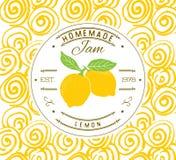 Mall för driftstoppetikettdesign för citronefterrättprodukt med den drog handen skissade frukt och bakgrund Illustrati för klotte Royaltyfri Bild