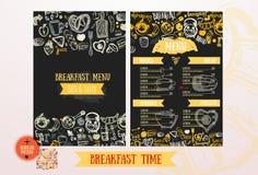 Mall för frukostmenydesign Hand-drog moderna skissar med bokstäver med bröd, kakan, te, ägg Matdesign Arkivbild