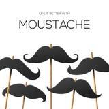 Mall för Hipsterpartidesign med mustaschen Royaltyfria Foton