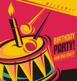 Mall för inbjudan för födelsedagparti Arkivbilder