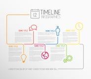Mall för Infographic timelinerapport med linjer Royaltyfria Bilder