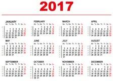 Mall för 2017 kalender Horisontalveckor Första dag måndag Arkivfoton