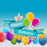 Mall för kort för lycklig födelsedag med ballongvektorillustrationen Royaltyfri Bild