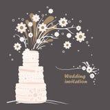 Mall för kort för tappningbröllopinbjudan. Bröllopstårta- och blommaillustration Arkivfoto