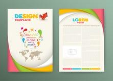 Mall för orientering för broschyrreklambladdesign med framgång Arkivfoto