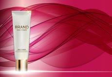 Mall för rör för hudfärgpulverflaska för annonser eller tidskriftbakgrund Royaltyfria Foton