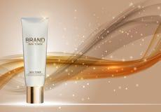 Mall för rör för hudfärgpulverflaska för annonser eller tidskriftbakgrund Royaltyfria Bilder