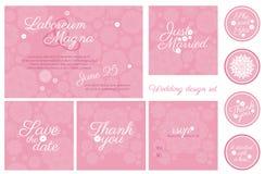 Mall för vektor för uppsättning för inbjudanbröllopdesign Royaltyfri Fotografi