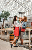 Mall friends Girls. Three pretty girls having fun while shopping - Best female friends spending time together Royalty Free Stock Images