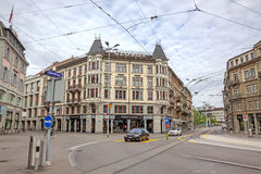 Mall Globus, inner city of Zurich, Switzerland. Zurich, Switzerland - June 10, 2017: Inner-city of Zurich with mall named globus in street Usteristrasse. Old Royalty Free Stock Photography