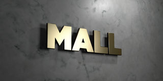 Mall - Gold sign mounted on glossy marble wall - 3D rendered royalty free stock illustration. This image can be used for an online website banner ad or a print stock illustration
