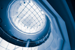 The mall hall of round ceiling. Blue Stock Images