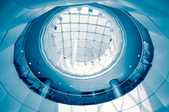 The mall hall of round ceiling. Blue Stock Photos