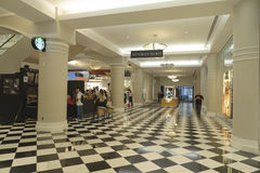 Mall hallway. S shot of a malls section with a starbucks and many other clothing store Royalty Free Stock Photo