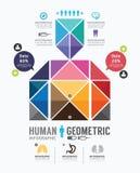 Mall Infographic mänsklig för geometrisk design. concept.vector. Royaltyfria Bilder