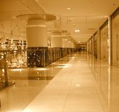 Mall Interior. With  massive columns and polished floors Royalty Free Stock Photos