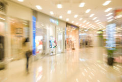 Mall interior. Blurred motion image Royalty Free Stock Photo