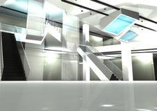 Mall interior design. Illustrated 3d render show open-well vector illustration