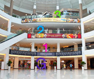 Mall interior with huge floor numbering Stock Photos