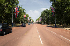 The Mall leading to Buckingham Palace. London's famous Mall leading to Buckingham Palace Royalty Free Stock Image