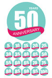 Mall Logo Anniversary Set Vector Illustration Fotografering för Bildbyråer