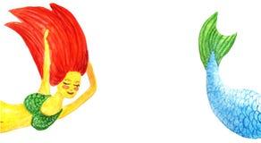Mall med en kopieringsutrymmesjöjungfru kroppen av en fantastisk kvinna på vänstersidan, fisksvansen på rätten vattenf?rg vektor illustrationer
