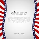 Mall med en modell av stjärnor och krabba band av färger av nationsflaggan av USA den patriotiska bakgrunden för ferier stock illustrationer