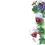 Mall med gruppen av nya druvor, korkskruv och exponeringsglas av rött vin Royaltyfri Bild