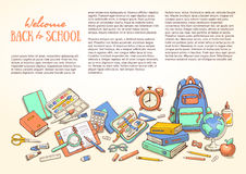 Mall med skolatillförsel för broschyrer, mapp, reklamblad, baner, broschyr Arkivfoton