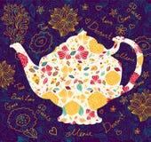 Mall med teapoten Royaltyfri Foto