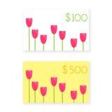 Mall $100 och $500 för kort för gåva för vektorlägenhetstil Fotografering för Bildbyråer