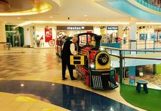 Mall Panorama in Vilnius. Little train and it`s driver Royalty Free Stock Photos
