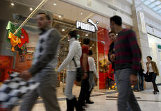 Mall people - Puma store Royalty Free Stock Photo