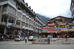 Mall Road view, Manali. Just another morning at the Mall Road Royalty Free Stock Photo