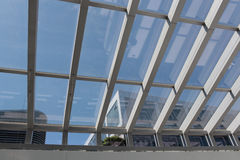 Mall roof. The mall roof steel transmission out of the scenery outside the window Stock Image