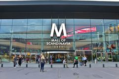 Mall of Scandinavia. Is a mall located next to the Friends Arena, Arena City in Solna.  is Sweden's largest shopping mall and the largest in Scandinavia. The Royalty Free Stock Images