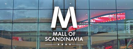 Mall of Scandinavia. Is a mall located next to the Friends Arena, Arena City in Solna.  is Sweden's largest shopping mall and the largest in Scandinavia. The Stock Images
