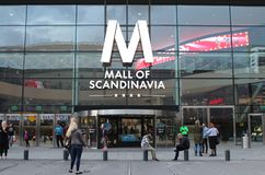 Mall of Scandinavia. Is a mall located next to the Friends Arena, Arena City in Solna.  is Sweden's largest shopping mall and the largest in Scandinavia. The Stock Photo