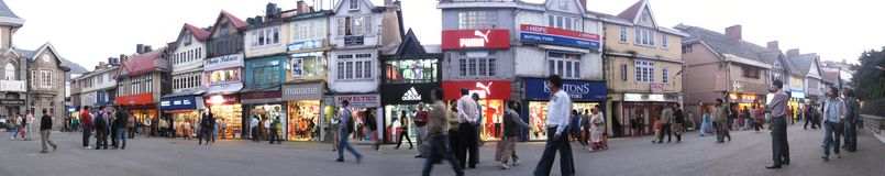 The Mall, Shimla, Circa 2010. Panorama of the Mall Road in Shimla City Royalty Free Stock Photos
