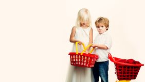 Mall shopping. Buy with discount. Buy products. Play shop game. Cute buyer customer client hold shopping cart. Girl and stock photo