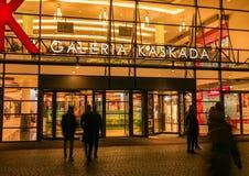 Mall shopping center entrance people. Mall shopping center, gallery entrance with people entering. Szczecin, Poland Royalty Free Stock Photo