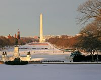 Mall in Snow. The Washington mall in snow with Washington monument Stock Photos