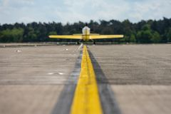 Mall sports plane on the runway. Royalty Free Stock Photos