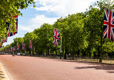 The Mall, street in front of Buckingham Palace in London. The Mall, street in front of Buckingham Palace. The Mall - The Diana Princess of Wales Memorial Walk Royalty Free Stock Photos