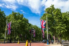 The Mall, street in front of Buckingham Palace in London. The Mall, street in front of Buckingham Palace. The Mall - The Diana Princess of Wales Memorial Walk Royalty Free Stock Image